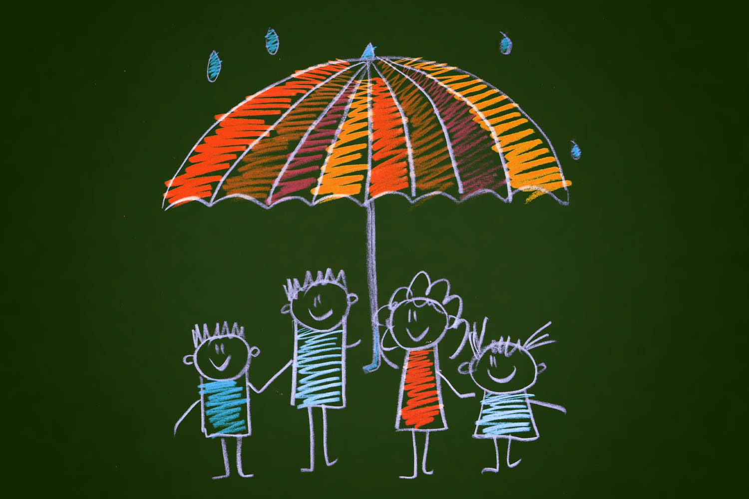 Child's drawing of a family under an umbrella
