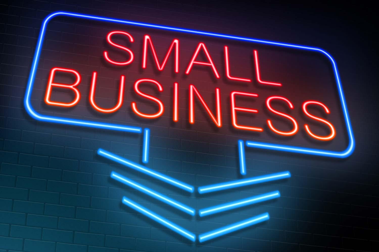 Neon sign reading 'Small Business'